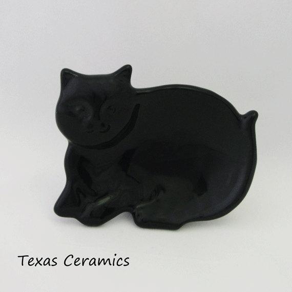 Ceramic Black Cat Personal Size Tea Bag Holder Small Spoon Rest Ring or Jewelry