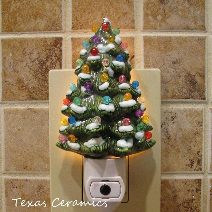 Decorated Ceramic Christmas Tree Night Light With Snow On Branches Automatic On And Off Switch Ready To Use