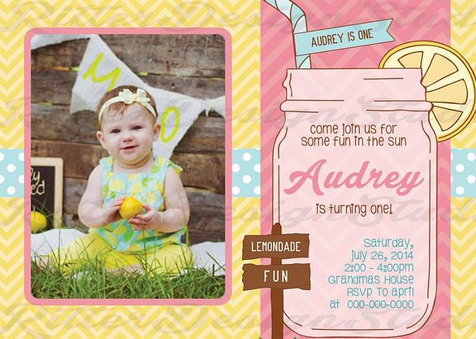 Lemonade Sunshine Birthday Invitation - Printable Digital file