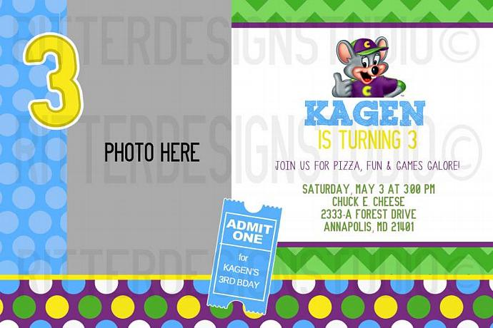 photograph regarding Chuck E Cheese Printable Invitations identified as Chuck e Cheese Birthday Invitation - Printable Electronic Record