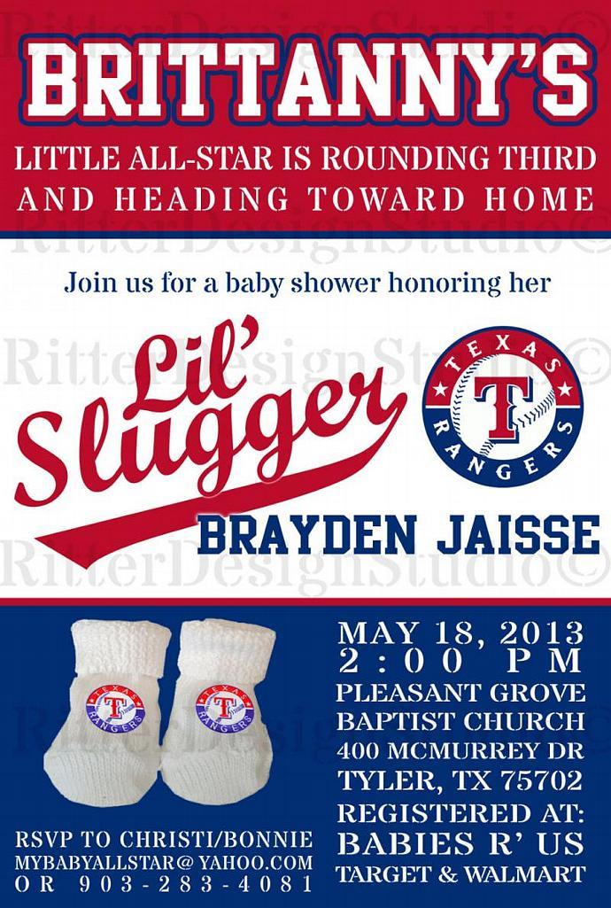 Texas Rangers Baseball Baby Shower by RitterDesignStudio on Zibbet