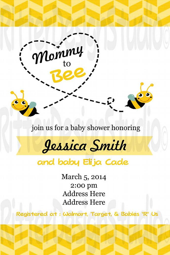 Mommy To Bee Bumble Bee Baby Shower Invitation - Printable Digital File