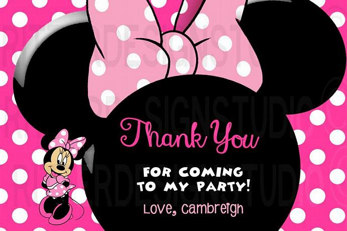 Minnie Mouse Thank You Birthday Card By Ritterdesignstudio On Zibbet