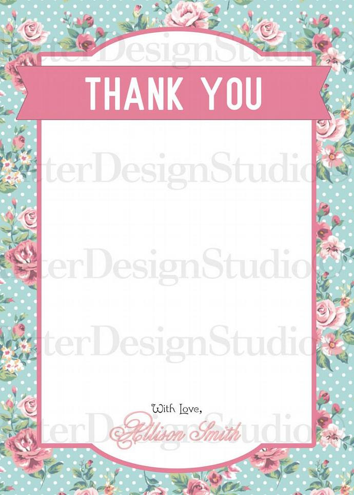 Shabby Chic Flower Floral Baby Shower Thank You Card - Printable Digital File