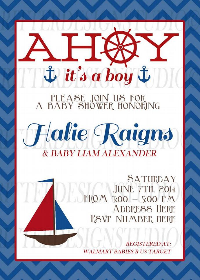 Ahoy Its A Boy Nautical Sailboat Baby Shower Invitation