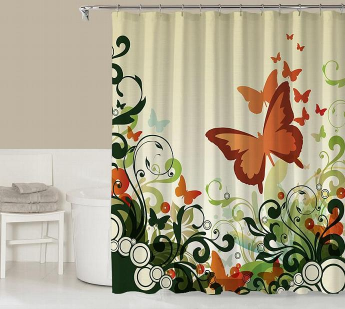 brown and orange shower curtain. Floral shower curtain  contemporary bathroom decor rust orange green and codysloft