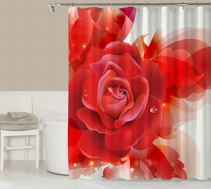 Floral Shower Curtain Contemporary Bathroom