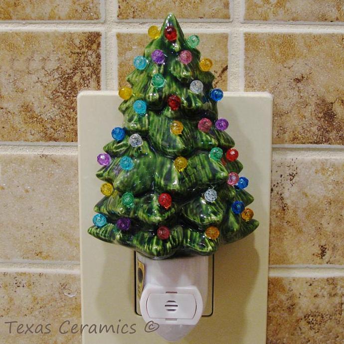 Automatic Christmas Tree: Green Ceramic Christmas Tree Night Light