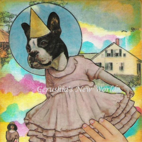 Dancing Fiona ~ Anthropomorphic Watercolor Collage Print