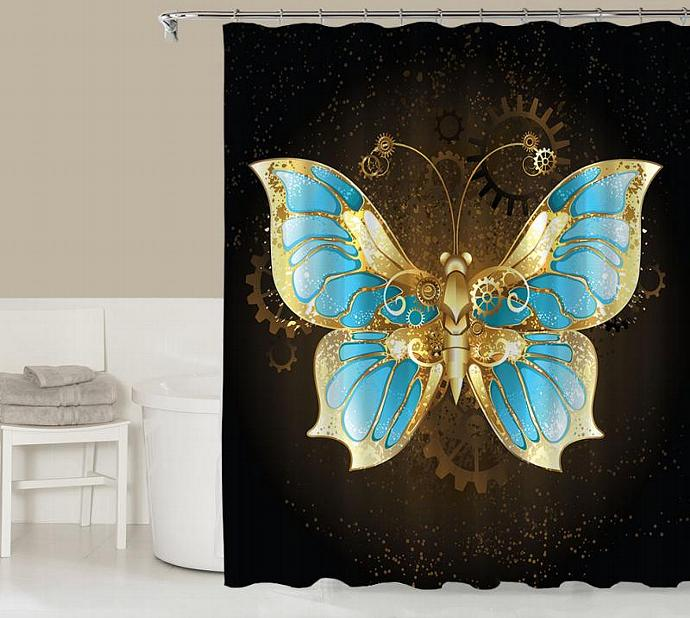 Fantasy Shower Curtain Contemporary Bathroom Decor Gold Blue And Black