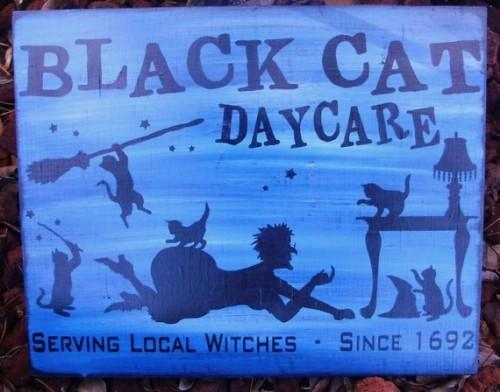 Primitive witch Black Cats Daycare Sign witches Primitives Halloween Witch