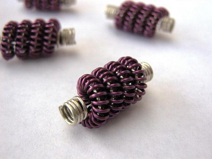 Coiled wire beads purple and silver