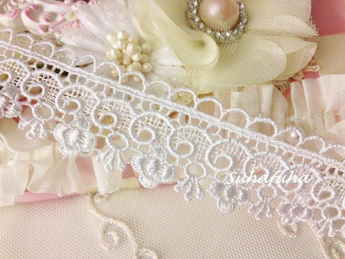 "White Venise Lace Trim Floral Border- 1 yd x 1.25"" for Altered Art, Weddings"