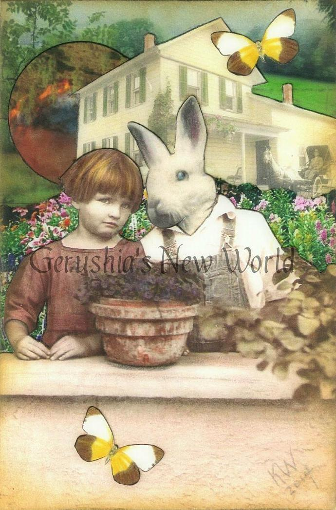 NEW - Beyond The Garden Wall, They Wait  - Anthropomorphic Watercolor Collage