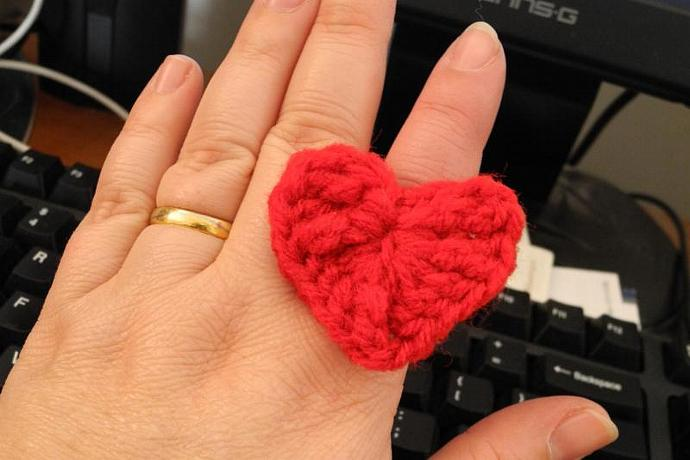 Fun Crocheted Heart Ring