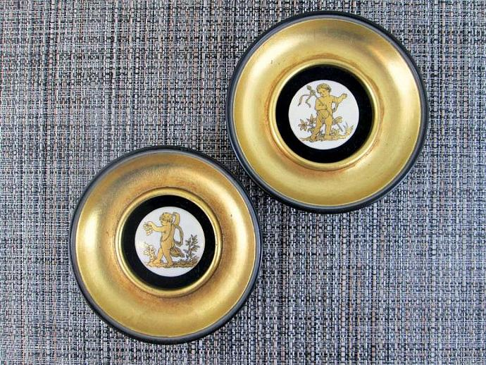 1960s Gold Gilt Cherub Medallion Wall Decor (Set of 2)