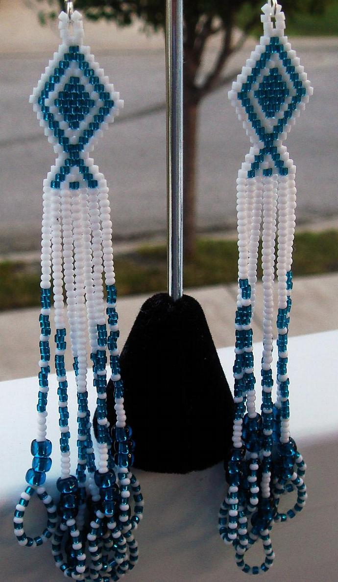 Blue Zircon & White Dangle Earrings