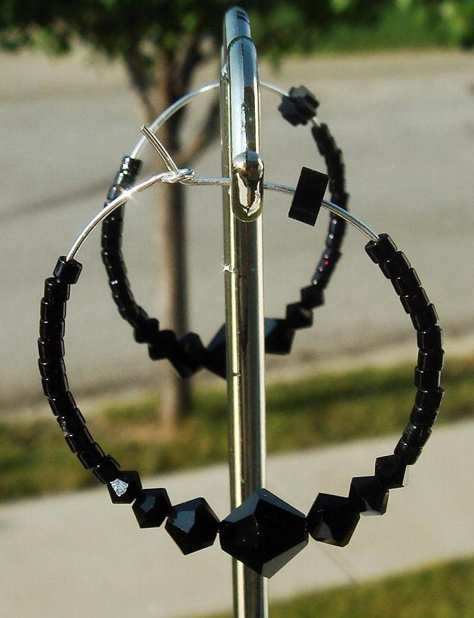 Jet Crystal Hoop Earrings