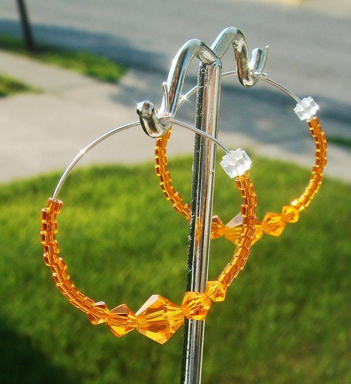 Sun Crystal Hoop Earrings