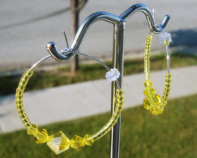 Citrine Crystal Hoop Earrings