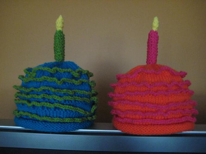 Custom Made Birthday Cake Knitted Baby Hats By Upnorthknits On Zibbet