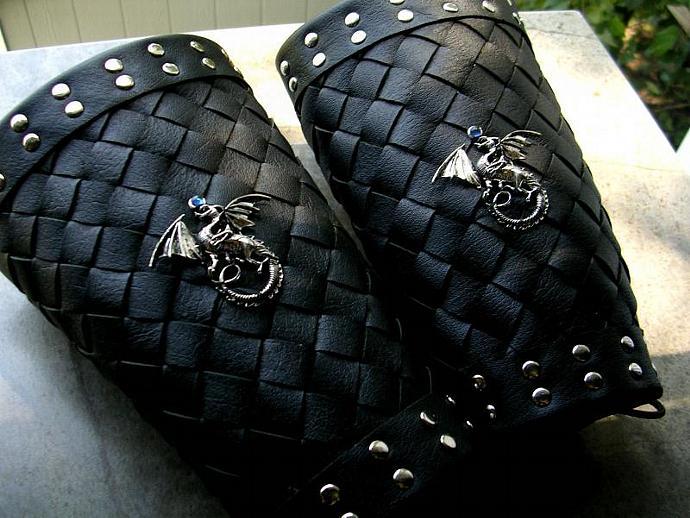 CUSTOM Bracer Set -  Gothic  Vampire Dragon - Black Leather Cuff Armor - Green