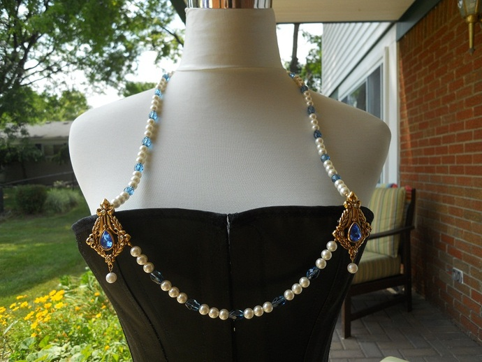 Blue and Pearl Bodice Jewelry with Necklace