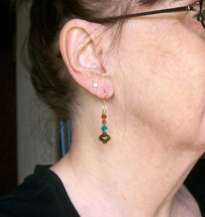 Crystal and Metal Beaded Dangle Earrings in Turquoise and Red Magma
