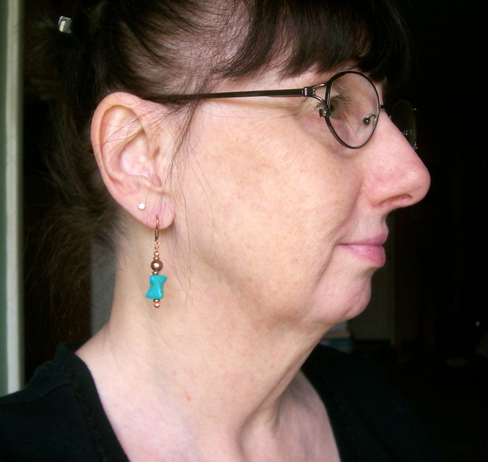 Turquoise and Copper Dangle Earrings, Handmade Beaded Jewelry