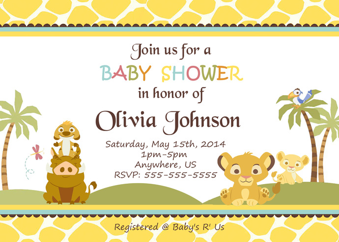 Lion King Simba Baby Shower Invitations