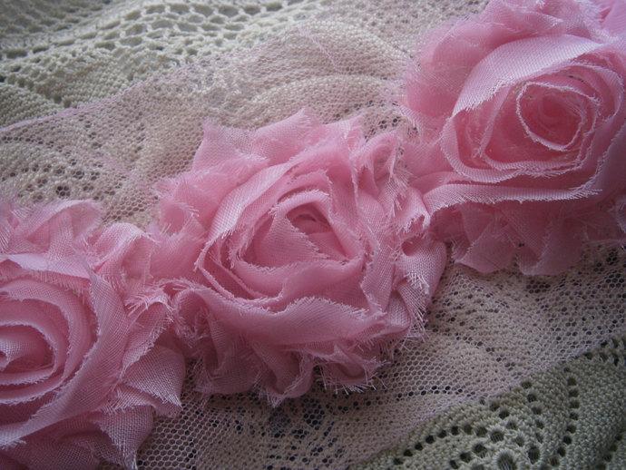 3pink chiffon rose trim (1yd)