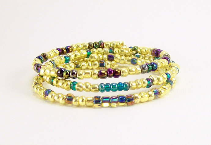Memory Wire Stacking Beaded Bracelets, Gold Blues and Greens, Handmade, Set of 3
