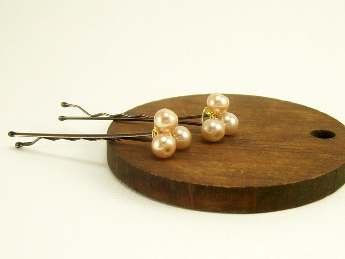 Beige Pearl Beaded Bobby Pins, Wedding Hair Accessory