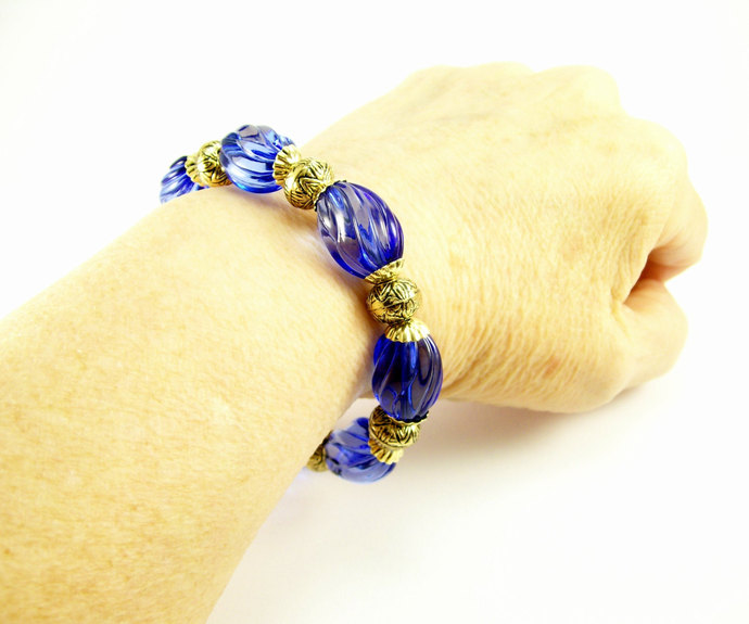 Sapphire Blue Acrylic and Gold Beaded Bracelet