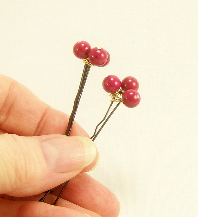 Pink Beaded Bobby Pins, Handmade Gemstone Everyday Wear Casual Wedding Bridal