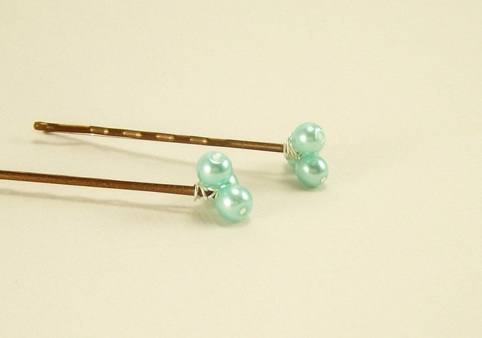 Aqua Pearl Beaded Bobby Pins, Hair Accessory, Everyday Wear Bridal Bridesmaid