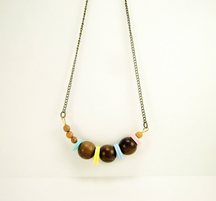 Geometric Wood & Button Necklace, Beaded Jewelry, Minimalist Necklace, Pastel