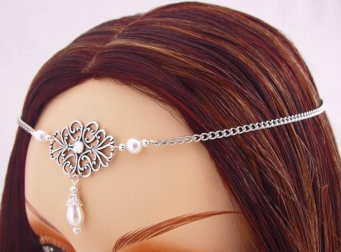 ITEM 3284 Pearl Elvish Medieval CIRCLET tiara crown wedding head piece