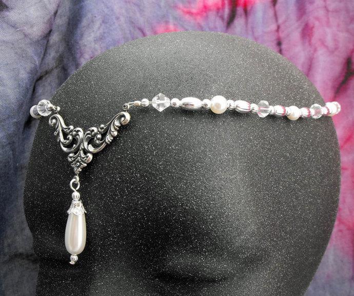 Item 1607 Pearl Elven CIRCLET wedding head piece faire costume tiara