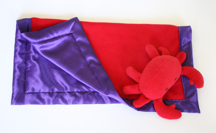 Crab Security Blanket, Lovey Blanket, Satin, Baby Blanket, Stuffed Animal, Baby