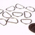 D shape jump rings key chains findings - silver tone - 20mm x 13mm - cadmium