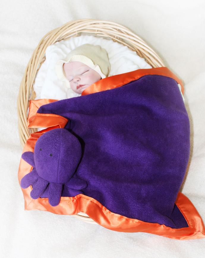 Octopus Security Blanket, Lovey Blanket, Satin, Baby Blanket, Stuffed Animal,