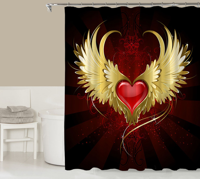 Fantasy Shower Curtain Contemporary Bathroom Decor Red Gold And Black Codysloft