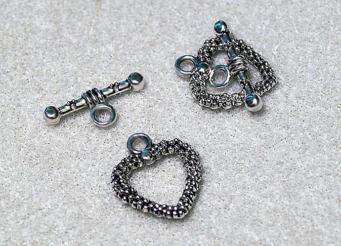 Silver Heart- Designer Toggle Clasps