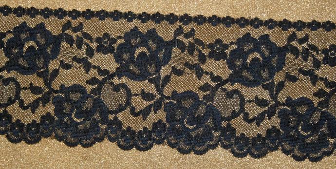 Beautiful Wide Black Floral Lace Trim #T-0024