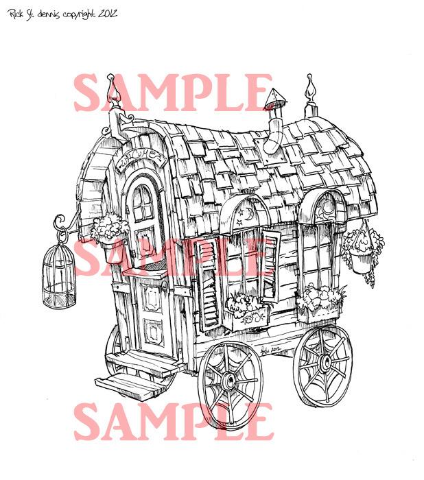 Gypsy Wagon scene digi