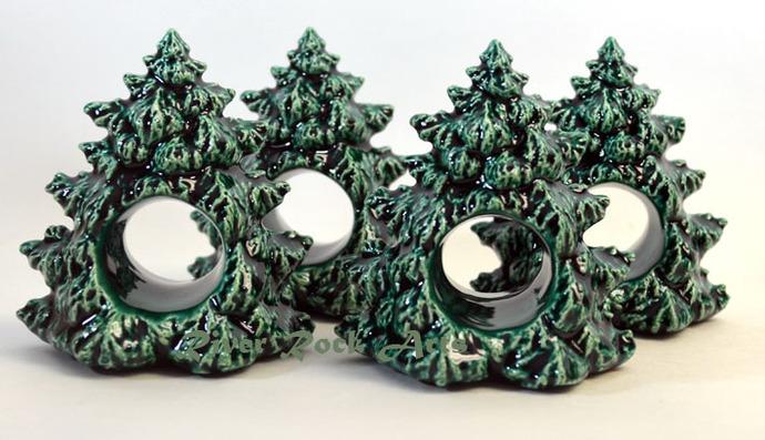 Christmas Tree Napkin Rings.Ceramic Christmas Tree Napkin Ring Set