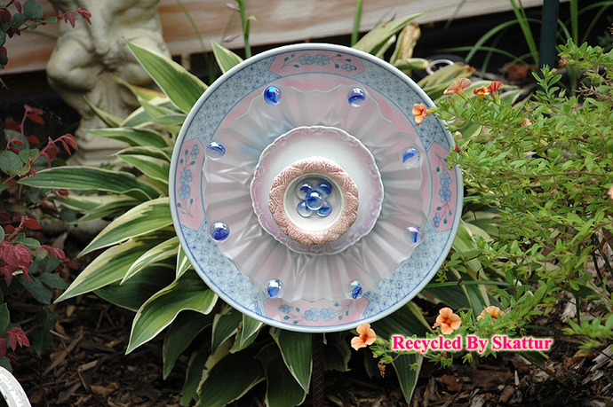 Frosted Glass Garden Flower Plate Pink and Blue / Handmade / Housewares /