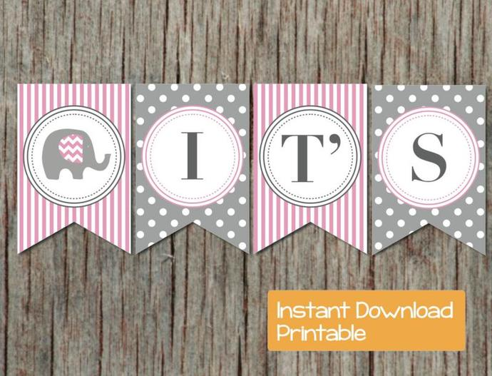 Pink and Grey Elephant Baby Shower Banner Girl Printable DIY Digital Its a Girl