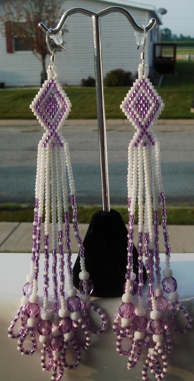 Lavender & White Dangle Earrings